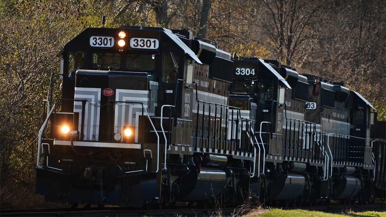 Finger Lakes Railway train rolls through Waterloo