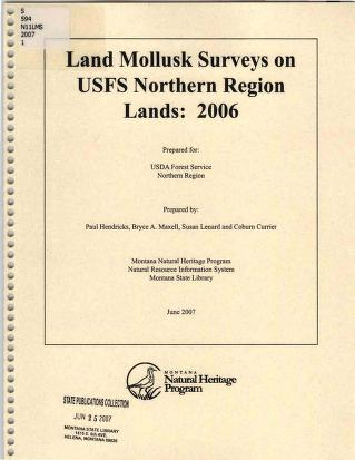 Cover of: Land mollusk surveys on USFS Northern Region lands | Paul Hendricks